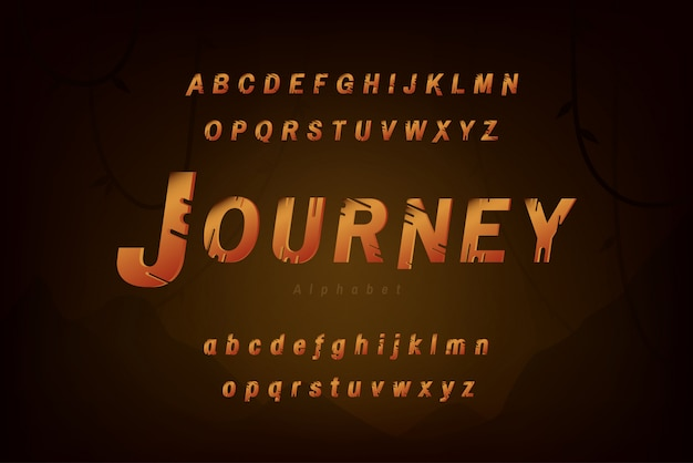 Tipo di carattere alfabeto tema viaggio e avventura impostato con lettere maiuscole e minuscole