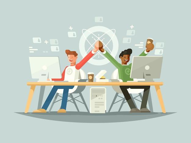 Gioia dei colleghi. successo di due partner nel progetto. illustrazione