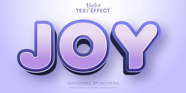 Testo di gioia, effetto di testo modificabile in stile cartone animato