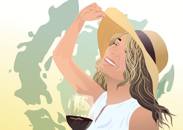 Gioiosa donna bionda in cappello e camicetta bianca con un bicchiere di vino in mano tratti astratti verdi