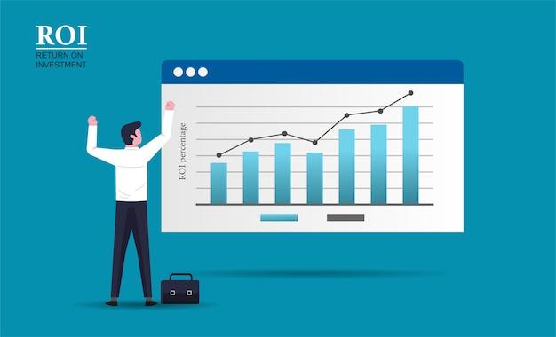 Carattere gioioso uomo d'affari in piedi guarda l'illustrazione di affari grafico a barre di crescita ritorno sugli investimenti concept design.