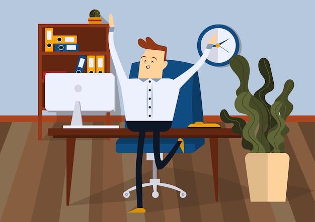 Uomo d'affari allegro che salta nella stanza dell'ufficio. vista frontale. illustrazione del fumetto di vettore di colore