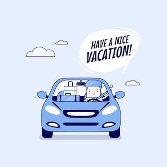 Uomo d'affari gioioso che viaggia in macchina con le valigie e dice buona vacanza. vettore di stile della linea sottile del personaggio dei cartoni animati.