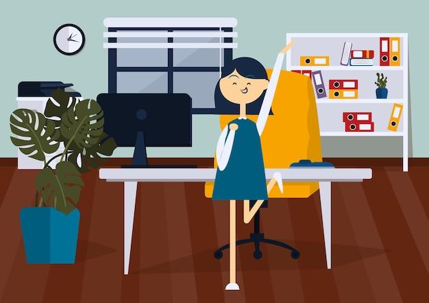 Donna di affari allegra che salta nella stanza dell'ufficio. vista frontale. illustrazione del fumetto di vettore di colore