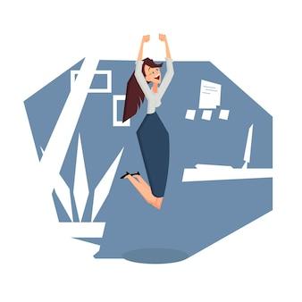 Donna di affari allegra che salta nella stanza dell'ufficio. vista laterale. illustrazione del fumetto di vettore di colore