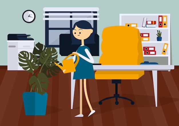 Gioiosa donna d'affari in piedi nella stanza dell'ufficio e innaffia la pianta vista laterale fumetto vettoriale a colori