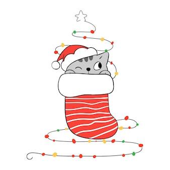 Illustrazione gioiosa del gattino di natale