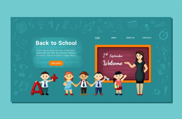 Bambini gioiosi tornano alla pagina di destinazione della scuola. gli studenti allegri tornano a scuola nel nuovo anno accademico incontrando amici e insegnanti imparando la conoscenza di argomenti interessanti. formazione del fumetto di vettore.