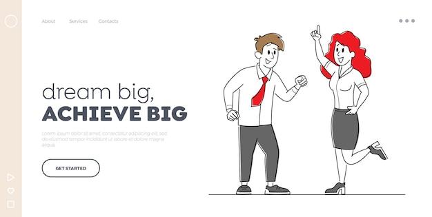 Colleghi di manager gioiosi che celebrano modello di pagina di destinazione di successo.