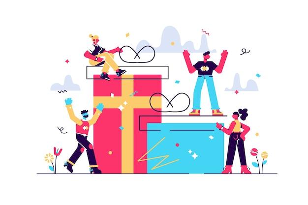Persone allegre, il dipendente riceve un regalo, una ricompensa online per un buon lavoro