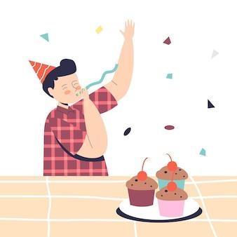 Il ragazzo in età prescolare allegro sulla festa dei bambini indossa un cappello a cono e un fischietto. evento di celebrazione per il compleanno dei bambini o il concetto di occasione di vacanza. cartoon piatto illustrazione vettoriale cartoon