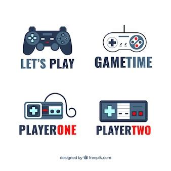 Collezione logo joystick con design piatto