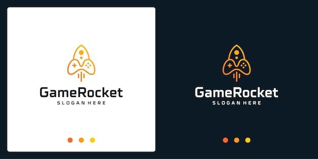 Ispirazione del logo del joystick e logo del razzo. vettori premium.