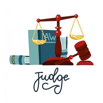 Concetto di giudice in stile cartone animato piatto. bilancia della giustizia e martelletto del giudice in legno. segno del martello di legge con i libri di legge. simbolo dell'asta di diritto legale.