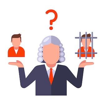 Una decisione del giudice sulla colpevolezza di una persona giudica sull'illustrazione piana di vettore accusata isolata su fondo bianco