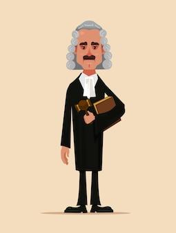 Carattere dell'operaio di corte dell'uomo del giudice in piedi e che tiene libro e martello