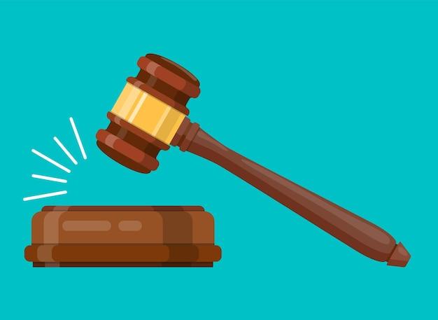 Martello di legno del giudice. mazzuolo cerimoniale all'asta, giudizio. pagina del sito web e design dell'app mobile. illustrazione vettoriale in design piatto Vettore Premium