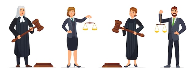 Set di giudici e avvocati