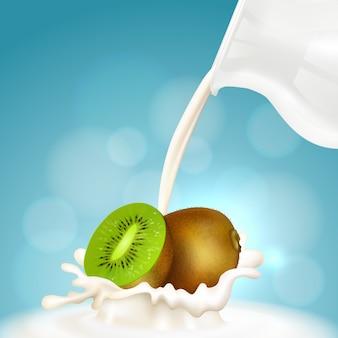 Brocca di latte e kiwi, frappè alla frutta. kiwi realistico e schizzi di latte.