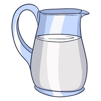 Una brocca di latte. latticini. latte fresco. prodotti della fattoria. illustrazione vettoriale in stile cartone animato per il design e la decorazione.