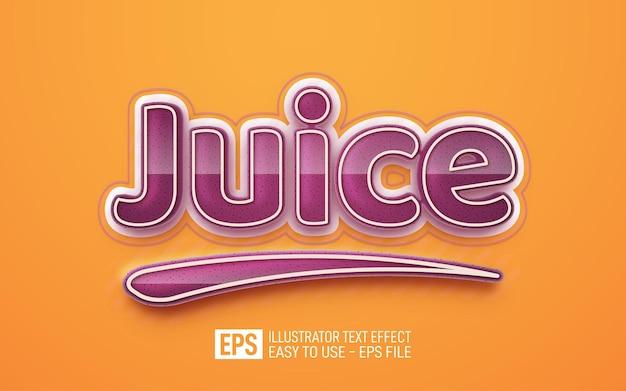 Modello di effetto stile modificabile testo 3d succo juice
