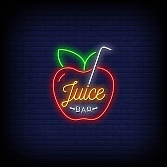 Juice bar logo insegne al neon stile testo