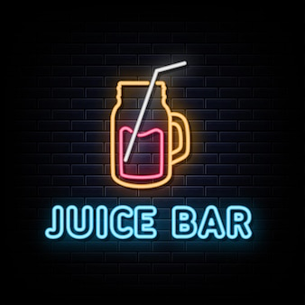 Vettore del segno del logo al neon del juice bar