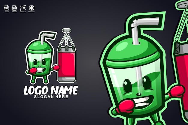 Tazza di succo boxe simpatico personaggio mascotte logo design