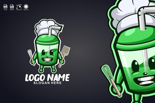 Tazza di succo chef simpatico personaggio mascotte logo design