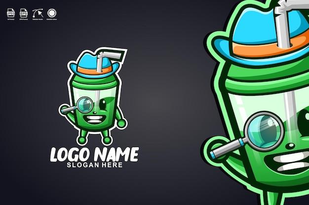 Tazza di succo detective simpatico personaggio mascotte logo design