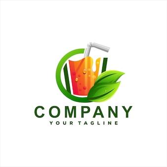 Design del logo sfumato di frutta succo di frutta