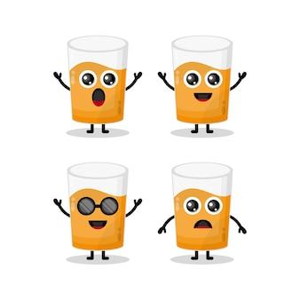 Bicchiere di succo simpatico personaggio mascotte