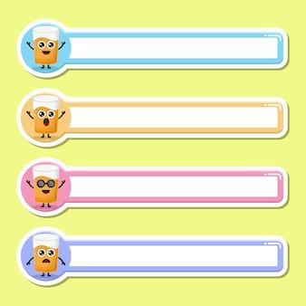 Etichetta per il nome dell'etichetta del bicchiere di succo simpatica mascotte del personaggio