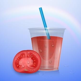 Succo di frutta isolato, 3d'illustrazione. tazza di plastica realistica di succo di pomodoro e pomodoro maturo