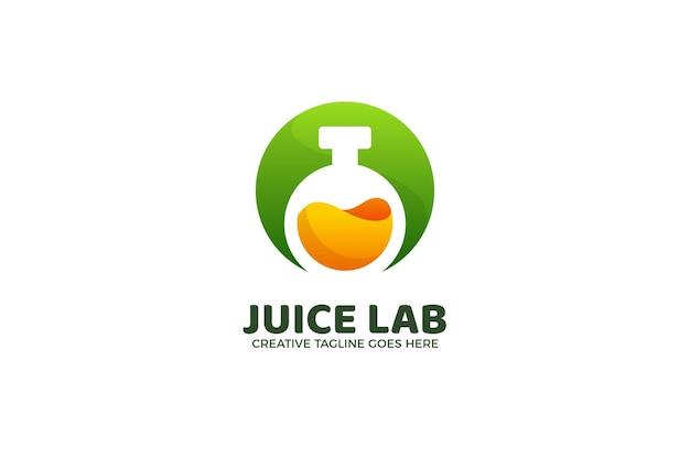 Modello di logo gradiente di esperimento di laboratorio di succo