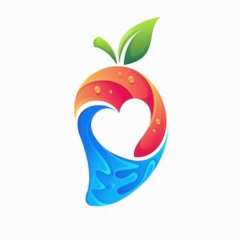 Logo degli amanti del succo con il concetto di mango