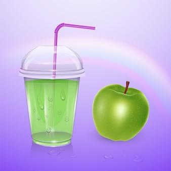 Succo di frutta, tazza di frullato, illustrazione 3d. bicchiere di plastica realistico con succo di mela