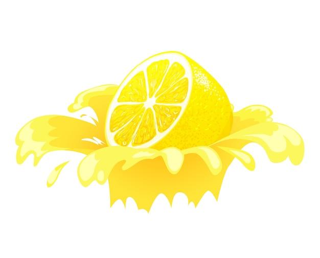 Succo di limone spruzzato. spruzzi di agrumi freschi. concetto per l'etichetta. illustrazione realistica