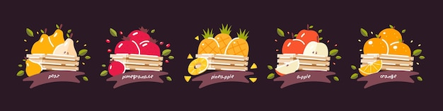 Frutta succosa, fresca e matura raccolta in cassette di legno. ananas succoso melograno frutto utile. bellissimo ppple. pera matura. arancia profumata. illustrazione su uno sfondo scuro.