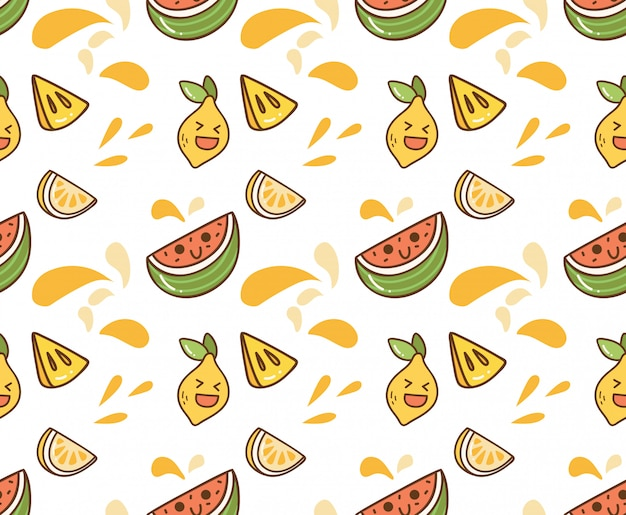Sfondo di kawaii di frutta succosa
