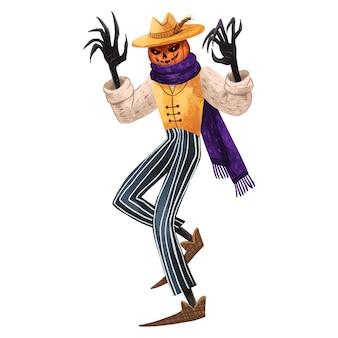 Succosa illustrazione di jack la zucca per lo spaventapasseri di halloween con le mani spaventose