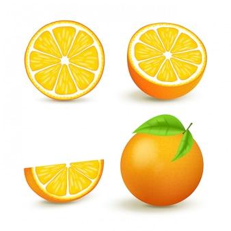 L'arancia succosa ha messo con la fetta e le foglie. gli agrumi freschi interi e metà hanno isolato l'illustrazione. 3d isolato su sfondo bianco