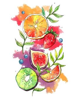 Illustrazione di frutta estiva succosa in acquerello. arancia, fragola, fico, kiwi, mirtillo, ramoscelli verdi e luminosi schizzi ad acquerello
