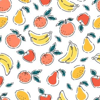 Modello senza cuciture di succosa frutta estiva su uno sfondo bianco isolato stampa ripetuta di vettore