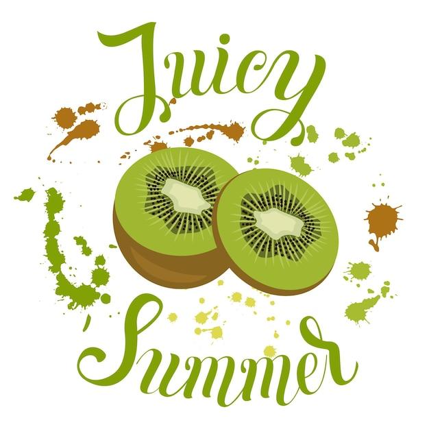 Succosa iscrizione estiva sullo sfondo con spruzzi illustrazione vettoriale con frutta estiva