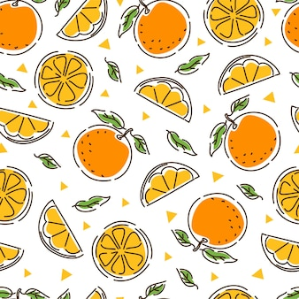 Modello senza cuciture succoso mandarino. fette e foglie di mandarino. geometria. sfondo astratto disegnato a mano.