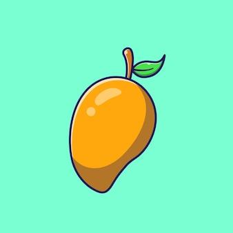 Succosa intera illustrazione piana di mango maturo.