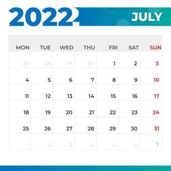 Calendario luglio 2022