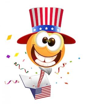 Quarta festa dell'indipendenza del 4 luglio. sorriso zio sam salta fuori dalla scatola