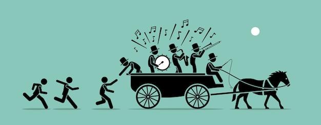 Salta sul carro. il concetto di grafica vettoriale raffigura persone e seguaci che inseguono, si uniscono e saltano su un carrozzone perché è popolare, famoso e alla moda.